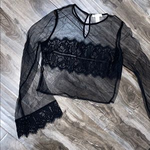 Black See Through Lace Crop Top